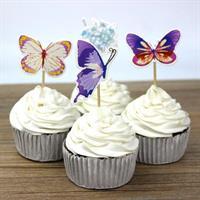 12 stk Sommerfugl Cupcake topper