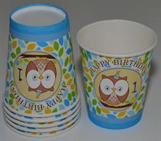6 stk papir kopp- Ugle mønster