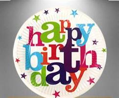 8 stk Happy Birthday Tallerken