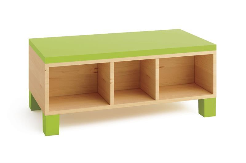 Elis bänk med bokförvaring grön