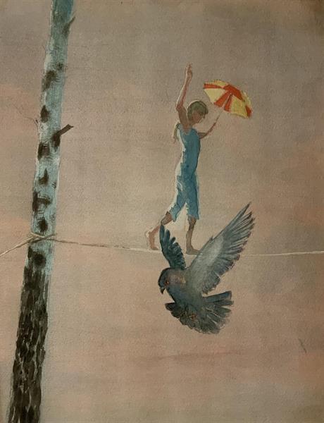 Himmelspromenad med fågel