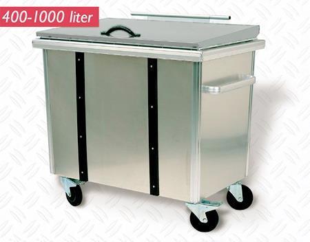 Avfallsbeholder 400 liter Aluminium