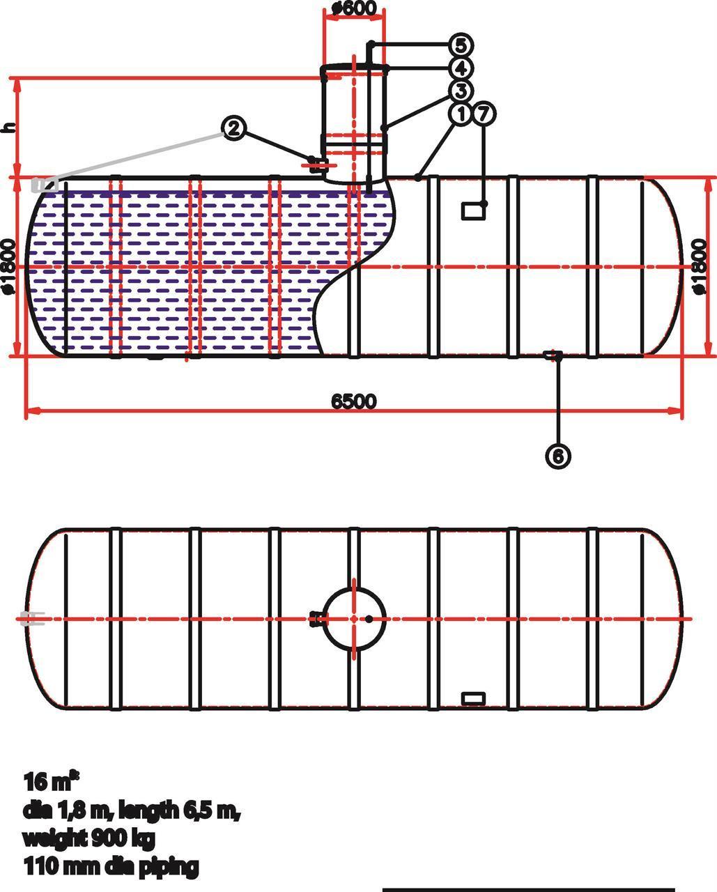 Umpisäiliö 16 m3 - D 1,8 m, L 6,5 m