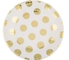10 stk Hvit tallerken med gull prikker 18 cm