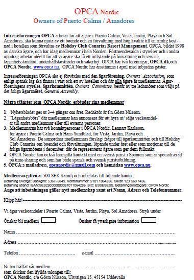 Information till nya medlemamr
