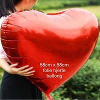 Folie Hjerte ballong - Rød 58 cm