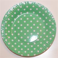 10Papptallerken - Polke dot  / grønn