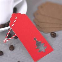 20 stk gave etiketter - Juletre Rød