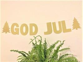 Banner- God Jul Glitrende Gull