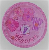 10 stk Papptallerken - Baby Shower / rosa