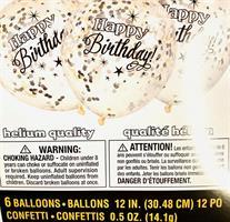 6 stk Svart Konfett ballong med Happy Birthday tekst