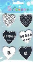 Stickers HJERTER sort/hvitt (tre)