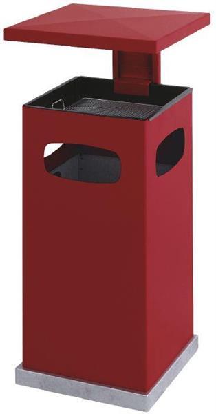 Avfallsbeholder i metall med askebeger ,70l, Rød