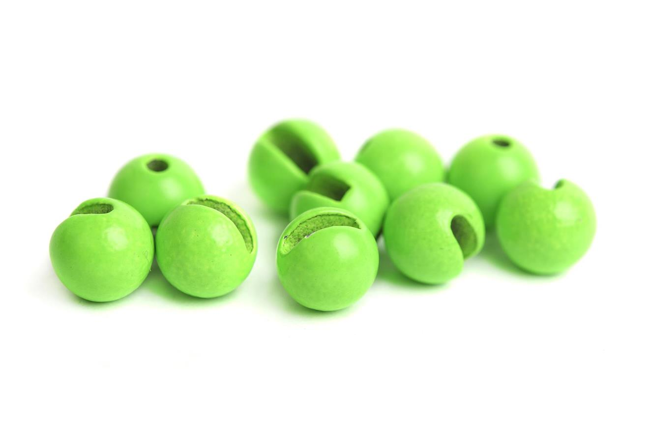 Slotted Tungsten Beads 4,0mm - Fluo Green