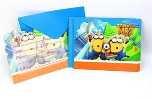 6 stk Invitasjonskort - Minions Despicable ME2
