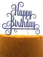 Kaketopp Happy Birthday Blå