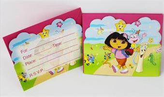 6 stk Invitasjonskort - Dora