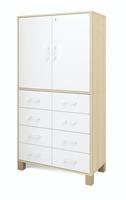Ornö högskåp med 8 lådor & 2 dörrar med lås Vit