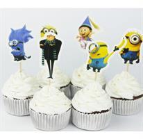 Stor Minions Cupcake/ Kaketopper fra Grusomme meg-filmen inkludert minions i ulike design.
