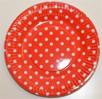 10 Papptallerken - Polka dot / rød