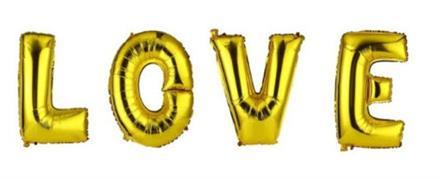 LOVE Gull Bokstav Folie ballong