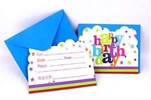 6 stk Invitasjonskort - Flerfarge Happy Birthday