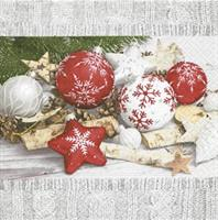Juleserviett Rød og hvit julekuler