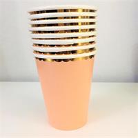 8 stk Papirkopp - fersken (Peach Color)