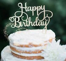 Kaketopper - Happy Birthday Sølv