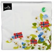 Serviett 17 Mai 3 Flagg m/ blomster