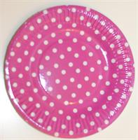 10 stk Papptallerken - Polka dot / fuksia