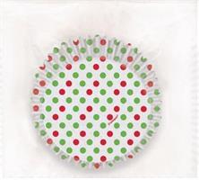 24 stk Cupcakesett - Røde og grønne prikker
