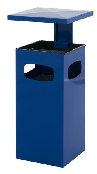 Avfallsbeholder i metall med askebeger ,70l, Blå