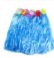Hawaii Hula Skjørt 40 cm Blå