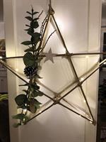 Unik Bambus stjerne med bladder,kongle og hvit stjerne