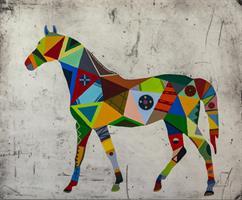 Häst 2 svart ram