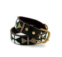 Hundehalsbånd Lukas mørk grønn/gull