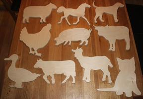 Sett med 10 husdyr, 30cm, UPUSSET