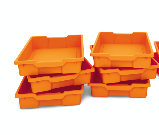 Plastback/låg orange 6st