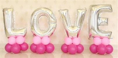 LOVE Sølv Bokstav folie ballong