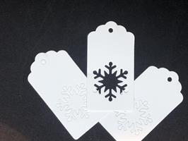 20 stk Gave etiketter Snøfnugg - Hvit
