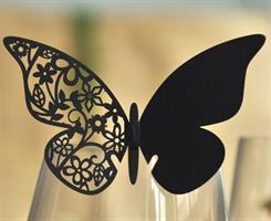 Bordkort - Sommerfugl Svart