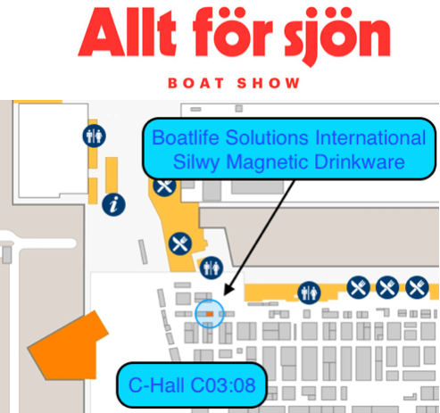 """""""World premiere"""" in Scandinavia as we launch silwy MAGNETIC DRINKWARE during Stockholm Boat Show!"""